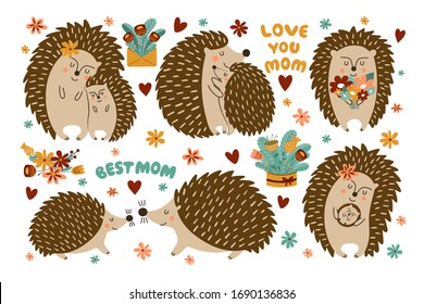 Set of cute hedgehogs for mother's day. Hedgehog moms hug their kids. The collection is perfect for greeting cards and posters.