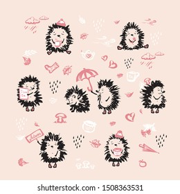 Set of cute hedgehog.Wild forest animals in  hand drawn style.Vector illustration