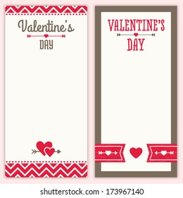 Set of cute hipster background designs for Valentine's Day. Great for greeting card, poster, menu, party invitation or shopping list template, social media, web banner.