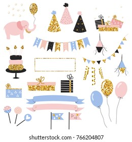 Set of cute holiday objects with gold glitter elements. Vector hand drawn illustration.