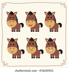 Set of cute horse in different emotions in cartoon style.