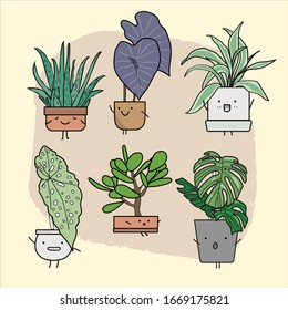 Set of cute house plants in pots. Colorful botanical set. Succulents and house plants. Hand drawn vector art. Set of house indoor plant vector.
