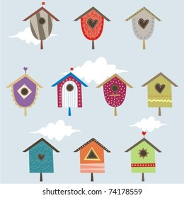 Set of cute houses for birds