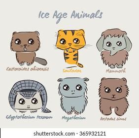 Set of cute Ice Age animals. Vector illustration of animals