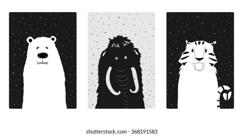 Set of cute Ice Age animals. Mammoth, prehistoric bear and saber-toothed tiger.  Vector illustration