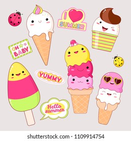 Set of cute ice cream icons in kawaii style with smiling face and pink cheeks. Stickers with inscription yummy, hello summer, i love summer, oh baby. EPS8