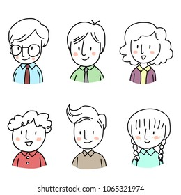 Set of cute icon or profile picture for social network such as businessman with eyeglasses, businesswoman smiling, girl with freckle. Doodled face icons on white background. Hand-drawn style vector.