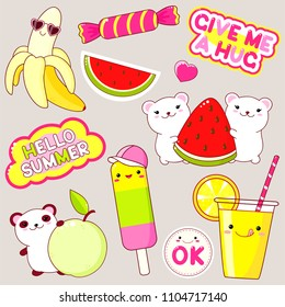 Set of cute icons in kawaii style. Panda with apple, polar bears with watermelon, ice cream, banana in sunglasses, candy, glass of juice, sticker with inscription ok, hello summer, give me a hug. EPS8