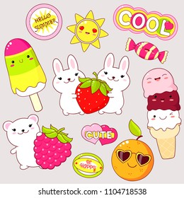 Set of cute icons in kawaii style. Bunny wuth strawberry, bear with raspberry, ice cream, sun, orange in sunglasses, candy, sticker with inscription cute, hello summer, be happy, cool. EPS8