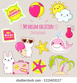 Set of cute icons in kawaii style. Bunny with suitcase, polar bear with ice cream, whale, palm, sun and cloud, ball, starfish, sticker with inscription my dream vacation, 100% summer. EPS8