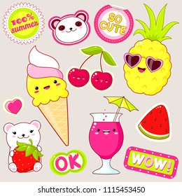 Set of cute icons in kawaii style. Polar bears with strawberry, ice cream, pineapple in sunglasses, cherry, glass of juice, sticker with inscription ok, 100% summer, so cute, wow. EPS8