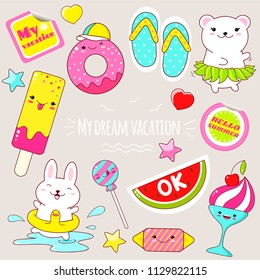 Set of cute icons in kawaii style. Bunny with lifebuoy, polar bear in a skirt made of leaves, donut, ice cream, candy, flip flops, sticker with inscription my vacation, hello summer. EPS8