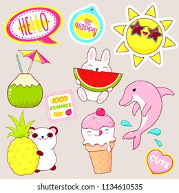 Set of cute icons in kawaii style. Bunny with watermelon, panda with pineapple, ice cream, candy, sun in sunglasses, sticker with inscription be happy, hello summer. EPS8