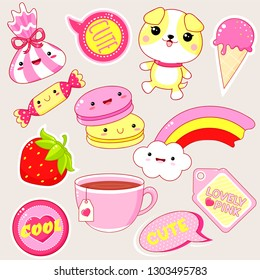 Set of cute icons in kawaii style with smiling face and pink cheeks for sweet design. Sticker with inscription Cute, Lovely pink. EPS8