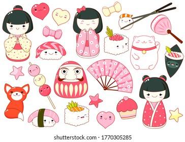 Set of cute icons in kawaii style. Japanese traditional toy kokeshi doll in kimono, maneki neko cat, daruma doll, fan, inari fox, heart, bow, cupcake, sushi and rolls. Vector illustration EPS8