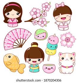 Set of cute icons in kawaii style. Japanese traditional toy kokeshi doll in kimono, maneki neko cat, Sakura Mochi, Taiyaki, fan, cap with matcha tea. Vector illustration EPS8