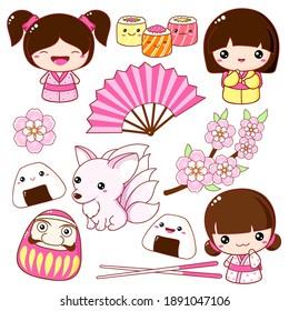 Set of cute icons in kawaii style. Japanese traditional toy kokeshi doll in kimono, nine-tailed fox Kitsune, rolls, fan, onigiri, sakura flowers. Blooming sakura season set. Vector illustration EPS8