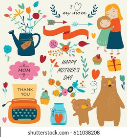 Set of cute illustrations for Mother's Day in cartoon style