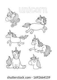 Set of cute illustrations of the unicorn for the coloring page or a book. Black outlines isolated on white. Lovely vector drawing.
