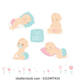 Set of cute infant babies. Cartoon newborn baby in various poses. Isolated on white background. Flat vector illustration