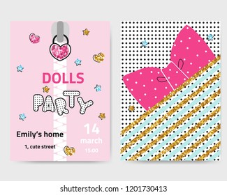 Set of cute invitation cards for girls party. Fashion kids graphic. Vector hand drawn illustration.
