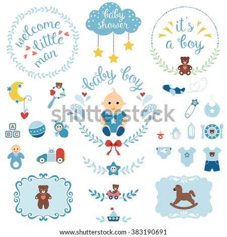 0e3e27358 A set of cute items for newborn baby boy. Baby shower design elements  isolated on white background. Vector illustration. - Vector