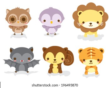 Set of cute jungle animal babies