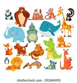 Set of cute kawaii cartoon animals. Panda bear, bear, monkey, giraffe, skunk, elephant, hippo, whale, fox, dog, tiger, alligator, cat, penguin, lion, koala and kangaroo. Vector illustrations