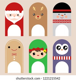 Set of Cute and kawaii Christmas greeting cards, Sticky Notes, Memo Pads