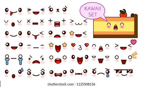 Set of cute kawaii emoticon face and sweet piece of cake, collection smileys manga executed in a cartoon style. Vector illustration.