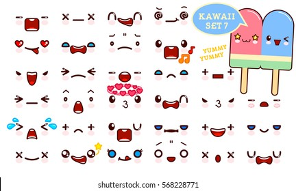 Set of cute kawaii emoticon face and sweet  couple ice cream, collection smileys manga executed in a cartoon style. Vector illustration.