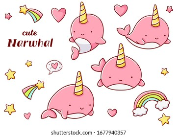 Set cute kawaii hand drawn pink narwhal doodles, isolated on white background, clipart, print