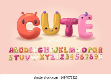 Set of cute and kawaii monsters. Alphabet collection fos children's party celebration. 3D handcrafted letters and numbers for invitation card  for Happy Birthday