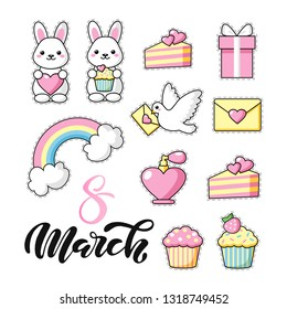 Set of Cute kawaii objects: bunny, pigeon with letter, hearts, cakes and ice cream. Love. Rainbow happy colors. 8 march lettering. Beautiful vector illustration for greeting card/poster/sticker.