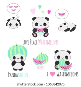 Set of cute kawaii vector panda bears eating watermelon ^^ summer sdition for stickers, patches, banners, etc.