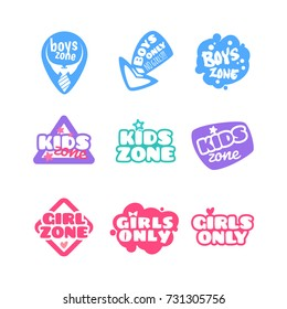 "Set of cute kids badges ""Kids Zone"", ""Girls Zone"", and ""Boys Zone"". Labels isolated on a white background."