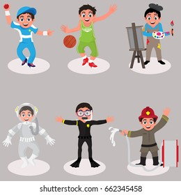 Set of cute kids characters, Cartoon illustration of little boys and girl dressed up like sports player, artist, astronaut, scuba diver and fire fighter.