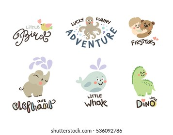 Set of cute kids, children icons and logos, childhood elements