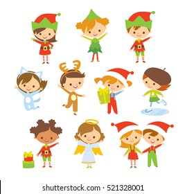 Set of cute kids in christmas costumes