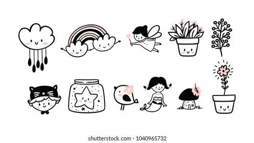 Set of cute kids logo