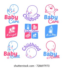 Set of cute kids logos for your business. Care, health, and badges for the baby shower. Labels isolated on a white background.