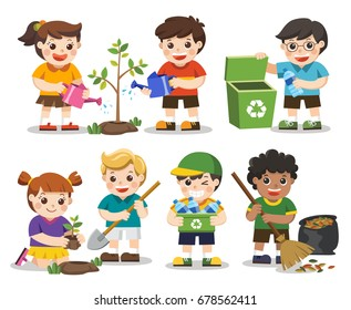 Set of A cute kids. Save Earth. Waste recycling. Kids planted and watering young trees. they are gathering garbage and plastic waste for recycling. Isolated vector.