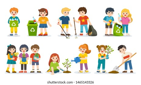 Set of Cute kids volunteers . Save Earth. Waste recycling. Kids planted and watering young trees. they are gathering garbage and plastic waste for recycling. Isolated vector.