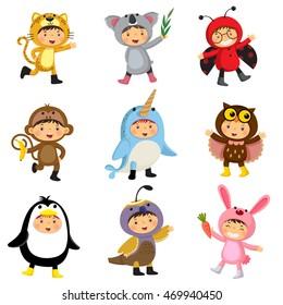 Set of cute kids wearing animal costumes. Kids as jaguar, koala, ladybird, monkey, narwhal, owl, penguin, quail, rabbit.