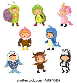 Set of cute kids wearing animal costumes. Kids as snail, turtle, unicorn, vulture, whale, x-ray fish, yak, zebra.