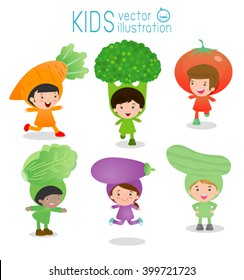 Set of cute kids wearing vegetables costumes isolated on white background, Little Cute children in costumes vegetable, children dressed like vegetables, cute child in costume,Vector Illustration.