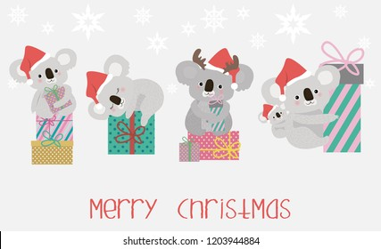 Set cute koala bears and gift boxes. Merry Christmas illustration.  Editable vector illustration