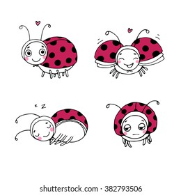 Set of cute ladybugs. Hand drawing isolated objects on white background. Vector illustration.