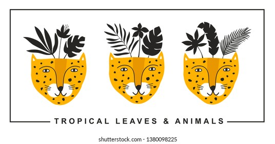 Set of cute leopards faces with black tropical leaves on the head. Vector print in modern scandinavian style.