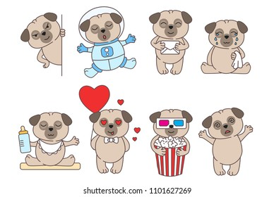 Set of cute linear pugs isolated on white backround.Pug in love, in space and with popcorn. Adorable pet dogs for cards, prints etc. Vector illustration